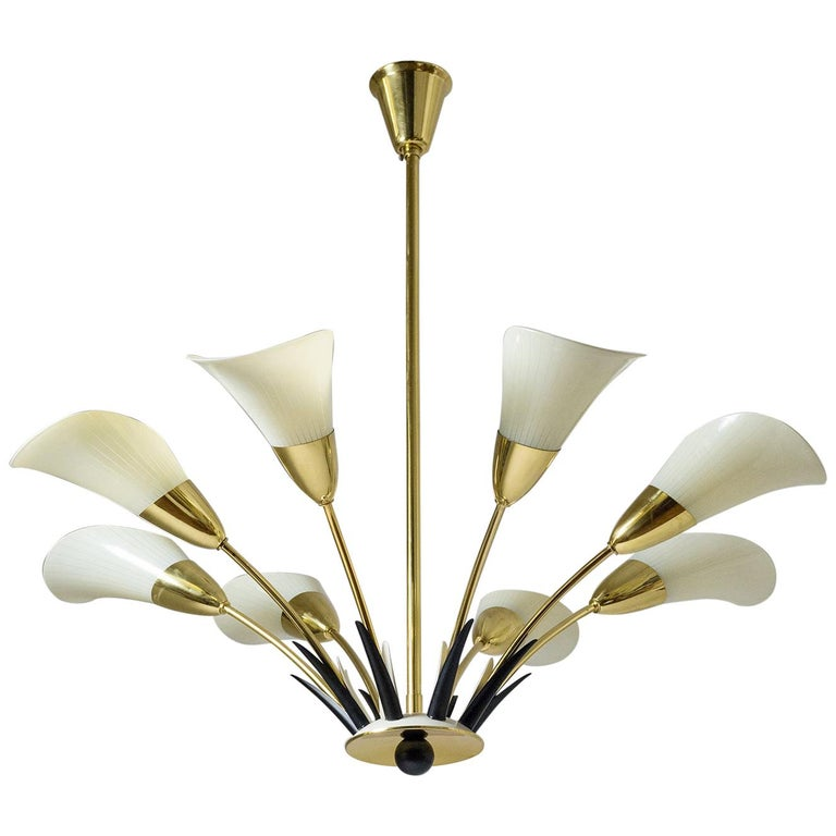 "1950s ""Calla"" Chandelier, Enameled Glass and Brass For Sale"