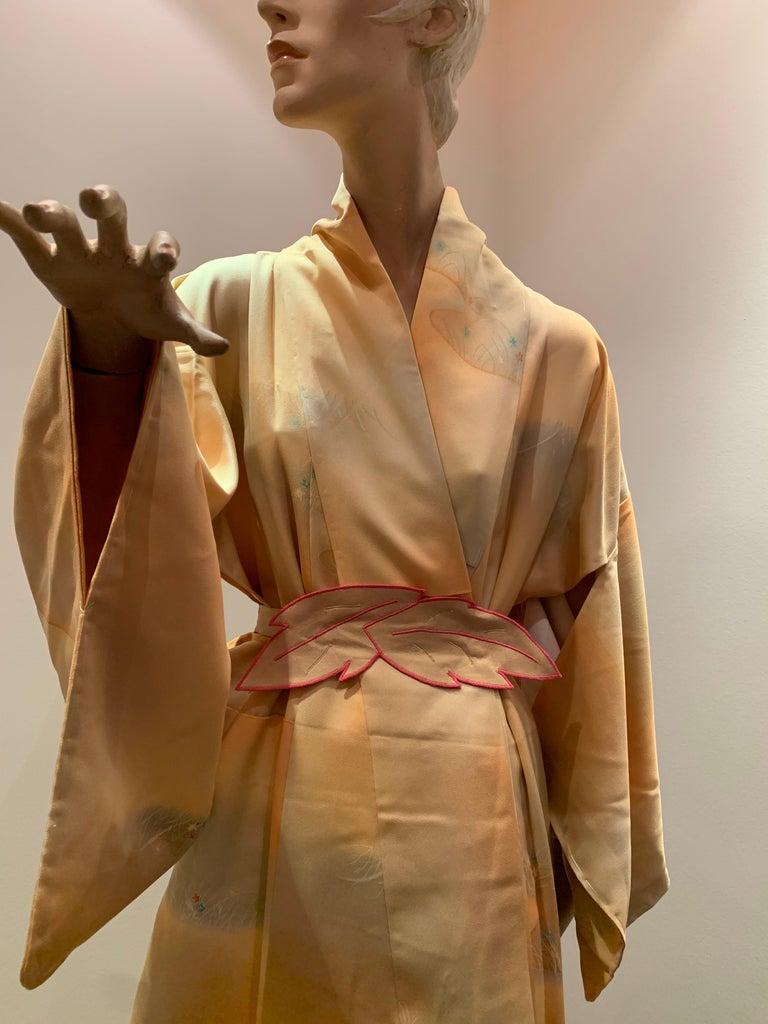 1950s Cantaloupe Silk Kimono W/ Torso Creations Leaf Motif Belt For Sale 7