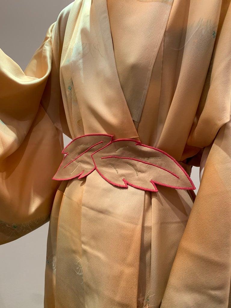 1950s Cantaloupe Silk Kimono W/ Torso Creations Leaf Motif Belt.