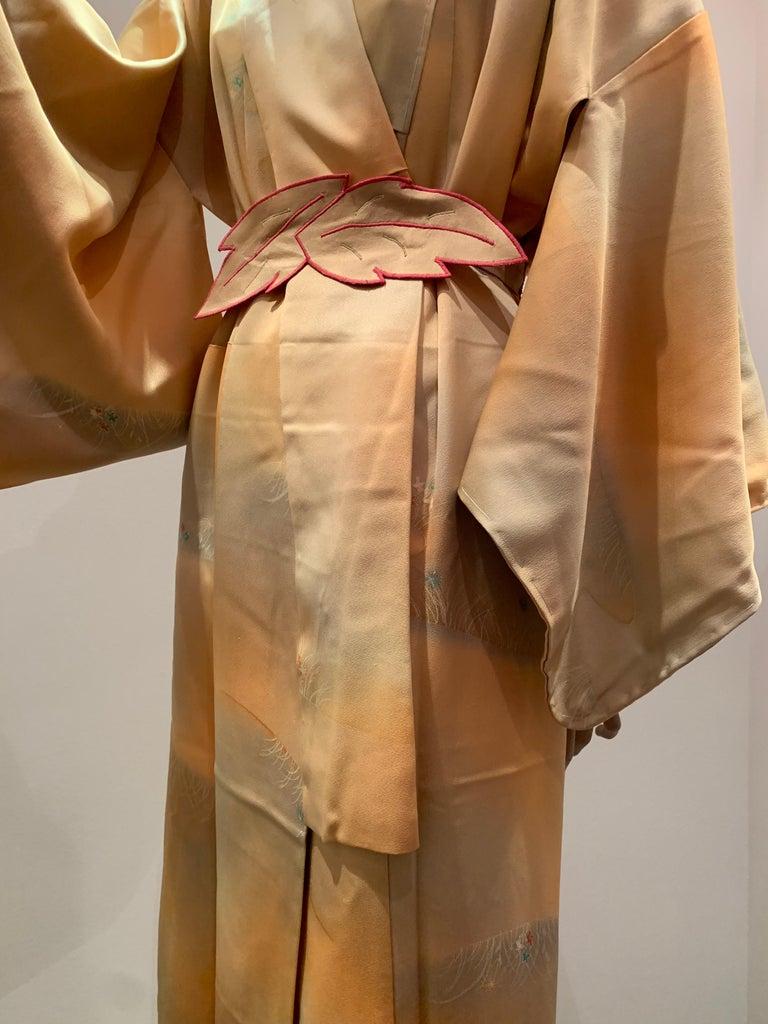 Women's or Men's 1950s Cantaloupe Silk Kimono W/ Torso Creations Leaf Motif Belt For Sale