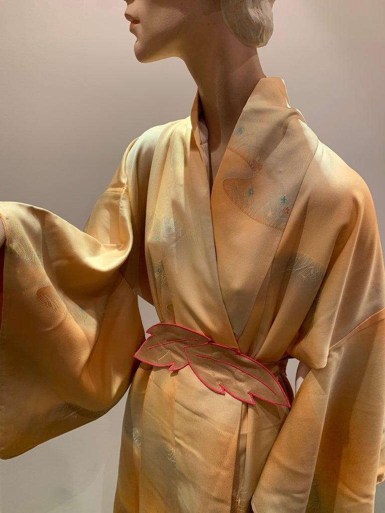 1950s Cantaloupe Silk Kimono W/ Torso Creations Leaf Motif Belt For Sale 1