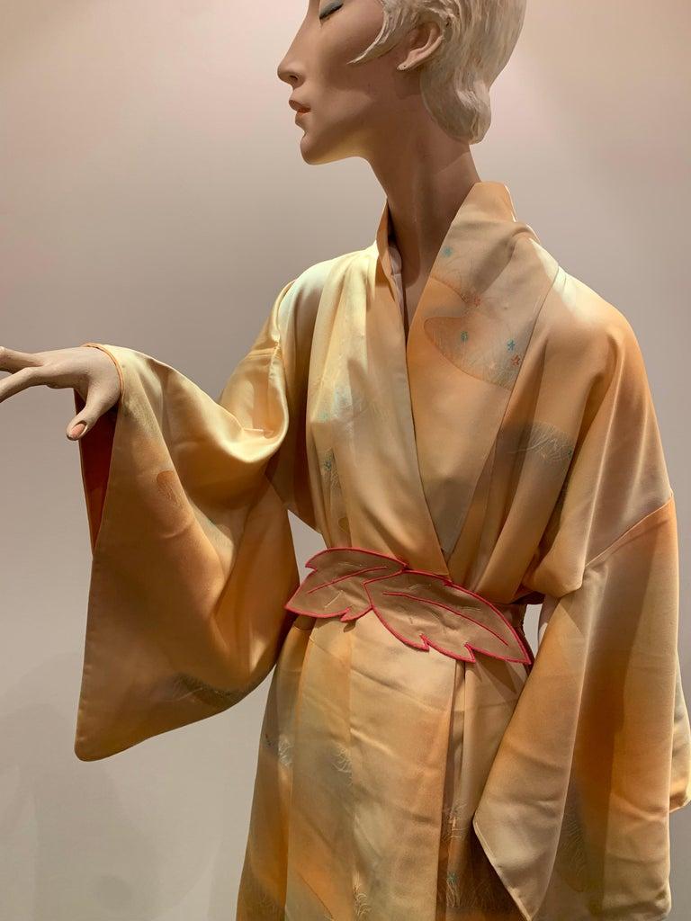 1950s Cantaloupe Silk Kimono W/ Torso Creations Leaf Motif Belt For Sale 2