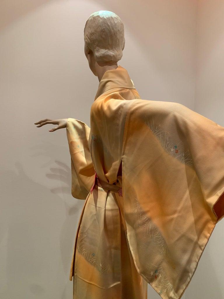 1950s Cantaloupe Silk Kimono W/ Torso Creations Leaf Motif Belt For Sale 3