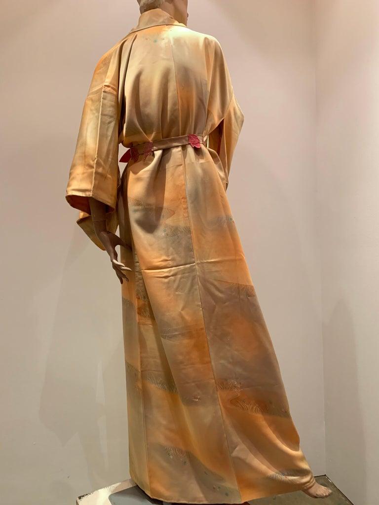 1950s Cantaloupe Silk Kimono W/ Torso Creations Leaf Motif Belt For Sale 4