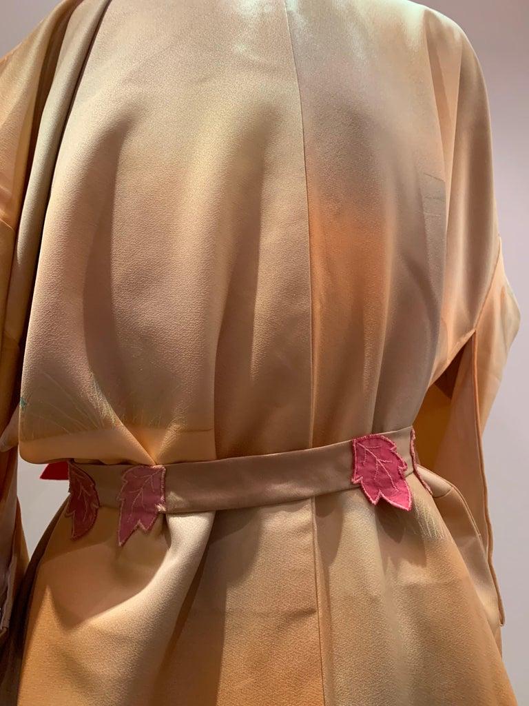1950s Cantaloupe Silk Kimono W/ Torso Creations Leaf Motif Belt For Sale 5