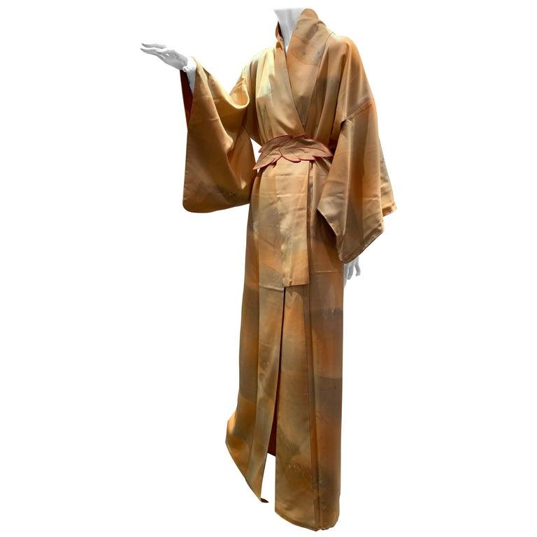 1950s Cantaloupe Silk Kimono W/ Torso Creations Leaf Motif Belt For Sale