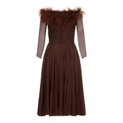 1950s Cardinal Brown Silk Chiffon and Feather Trim Dress