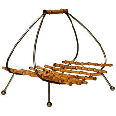 1950s Carl Auböck Midcentury Design Bamboo Brass Magazine Rack