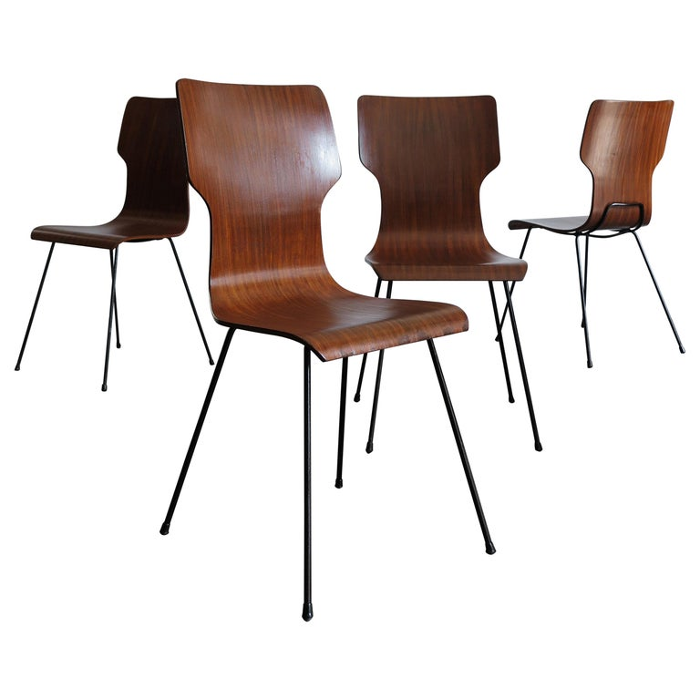 1950s Carlo Ratti Italian Midcentury Modern Design Dining Chairs For