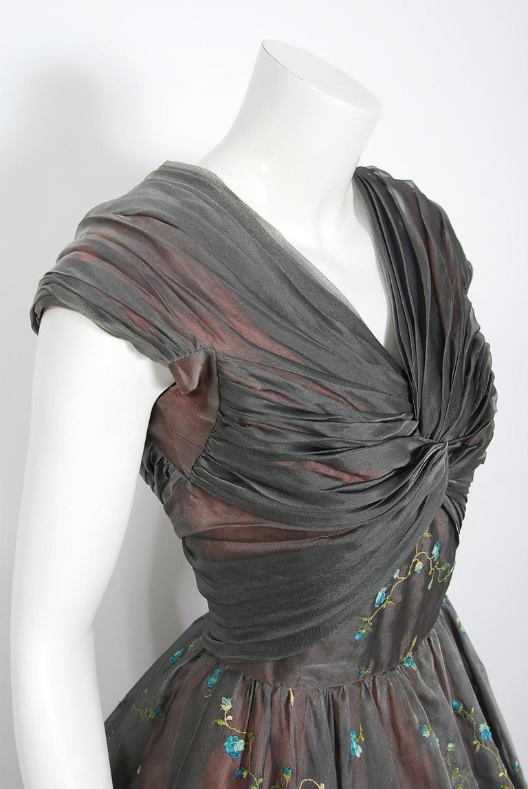 Gray 1950's Carlye Charcoal Embroidered Floral Silk-Organza Ruched Full Skirt Dress For Sale