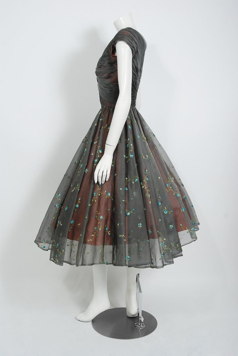 1950's Carlye Charcoal Embroidered Floral Silk-Organza Ruched Full Skirt Dress For Sale 1