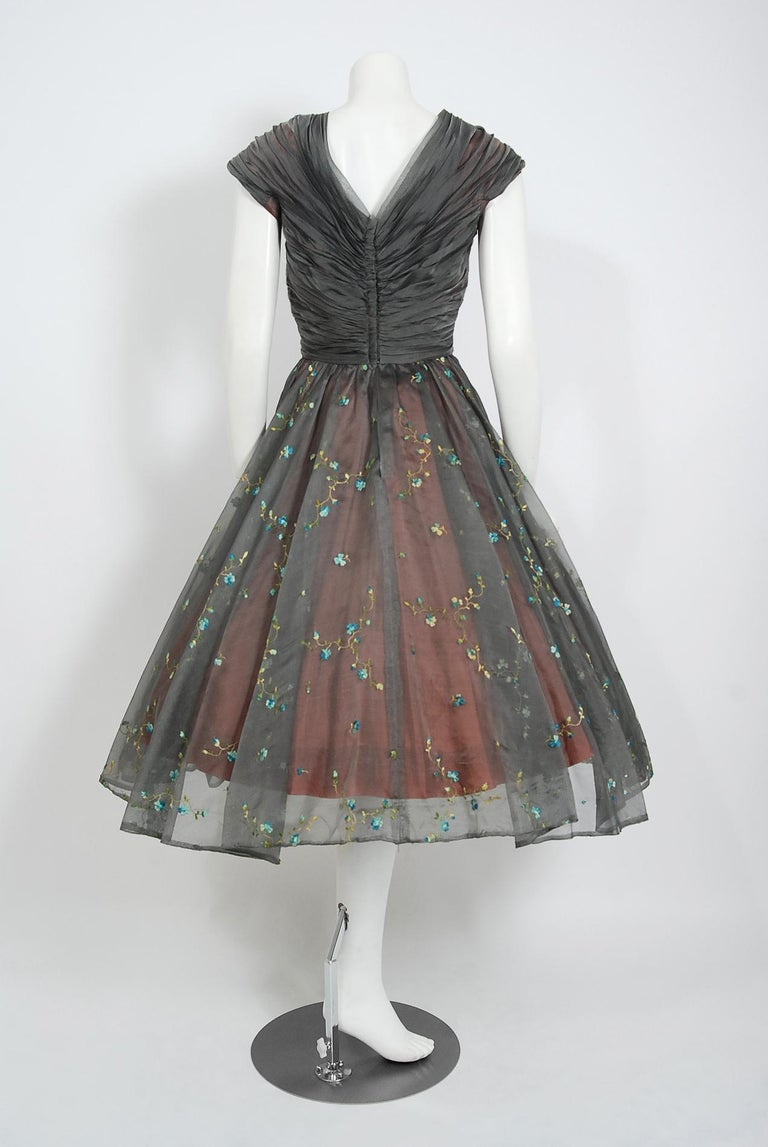 1950's Carlye Charcoal Embroidered Floral Silk-Organza Ruched Full Skirt Dress For Sale 2