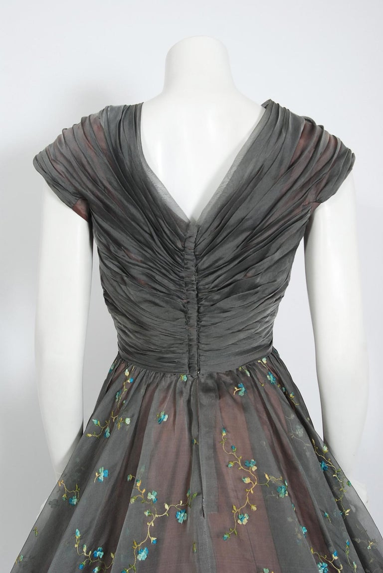 1950's Carlye Charcoal Embroidered Floral Silk-Organza Ruched Full Skirt Dress For Sale 3