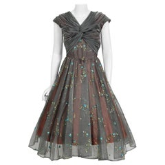 1950's Carlye Charcoal Embroidered Floral Silk-Organza Ruched Full Skirt Dress