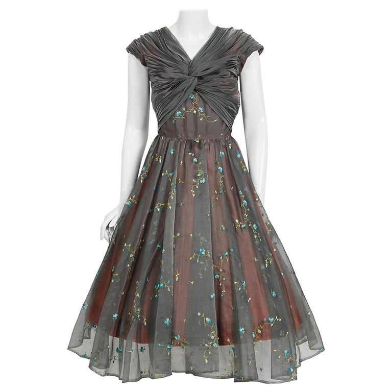 1950's Carlye Charcoal Embroidered Floral Silk-Organza Ruched Full Skirt Dress For Sale