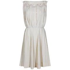1950s Carlye Cream Cotton Knife Pleat Dress