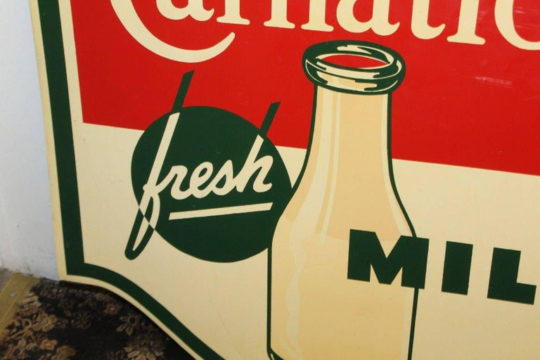 1950s Carnation Fresh Milk Die-Cut Double Sided Tin Advertising Sign In Fair Condition In Orange, CA