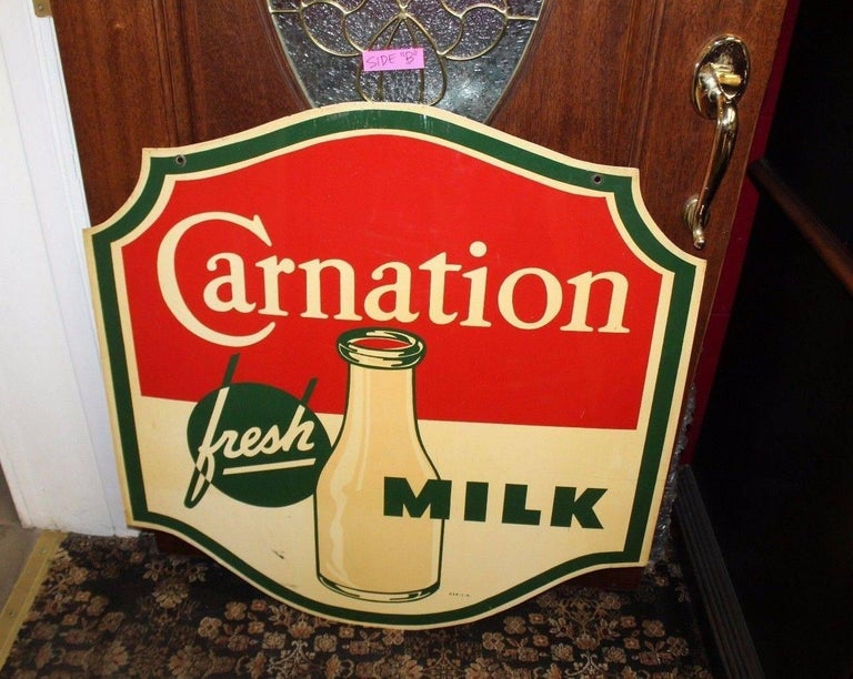 1950s Carnation Fresh Milk Die-Cut Double Sided Tin Advertising Sign 1