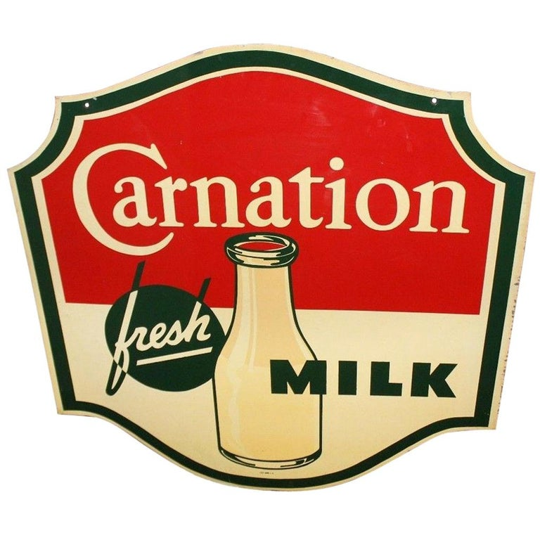 1950s Carnation Fresh Milk Die-Cut Double Sided Tin Advertising Sign