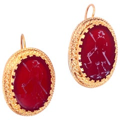 1950s Carnelian Intaglio Gold Earrings