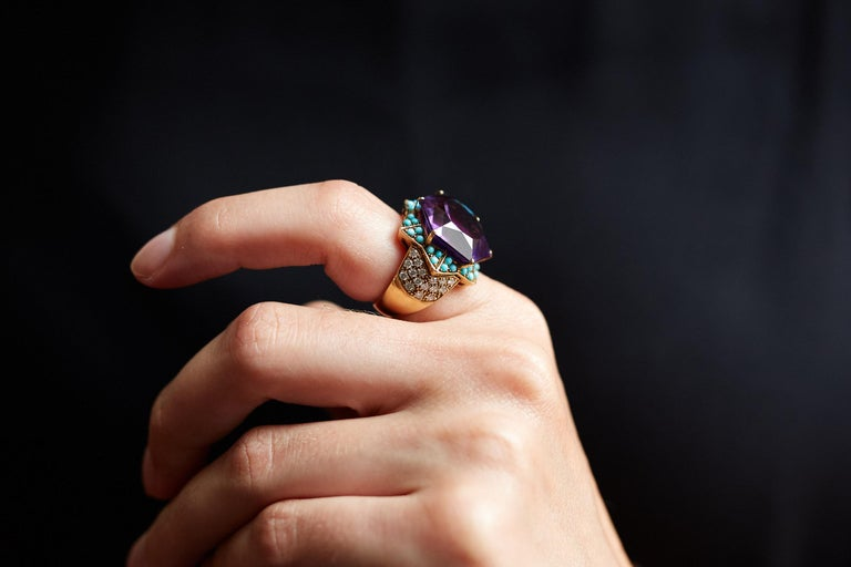Women's or Men's 1950s Cartier, Amethyst, Diamond, Turquoise and Gold Ring For Sale