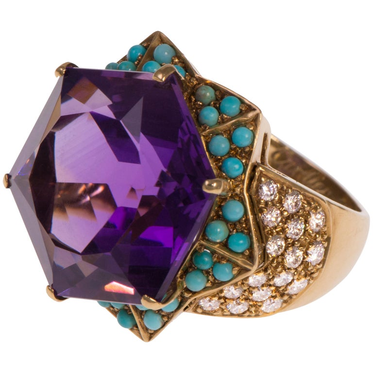 1950s Cartier, Amethyst, Diamond, Turquoise and Gold Ring For Sale