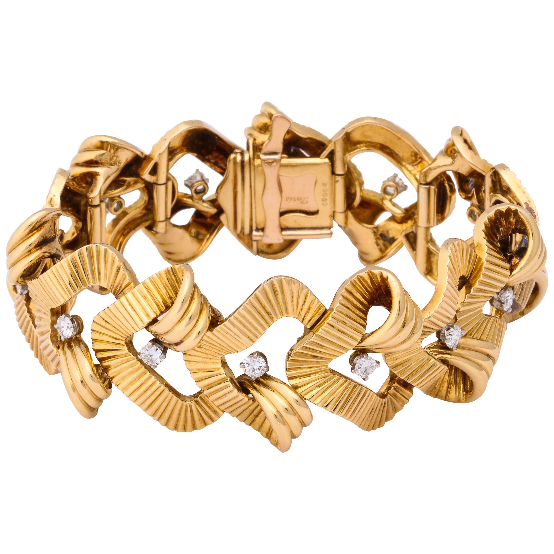 1950s Cartier Diamond Gold Bracelet