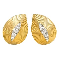 1950s Cartier Gold and Diamond Stylized Leaf Earrings
