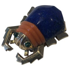1950s Cartier London Lapis Lazuli Coral and Emerald Beetle Brooch
