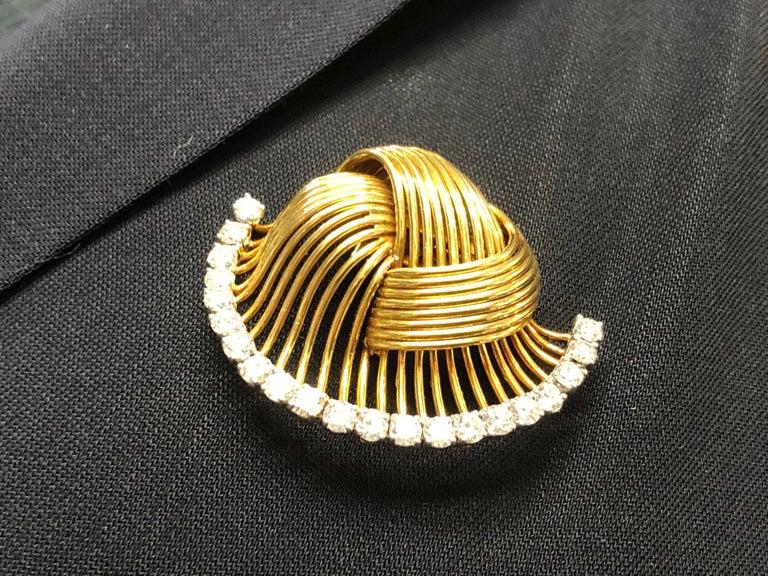 Women's or Men's 1950s Cartier Paris Retro Diamond Gold Brooch For Sale
