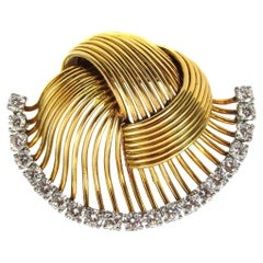 1950s Cartier Paris Retro Diamond Gold Brooch
