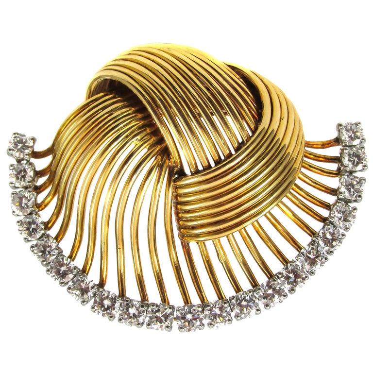 1950s Cartier Paris Retro Diamond Gold Brooch For Sale