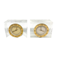 1950s Cartier Yellow Gold and Lucite Pair of Desk Clocks w/ Lecoultre Movement