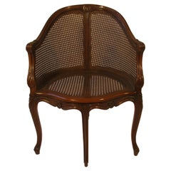 1950s Carved French Style Caned Back Corner Chair