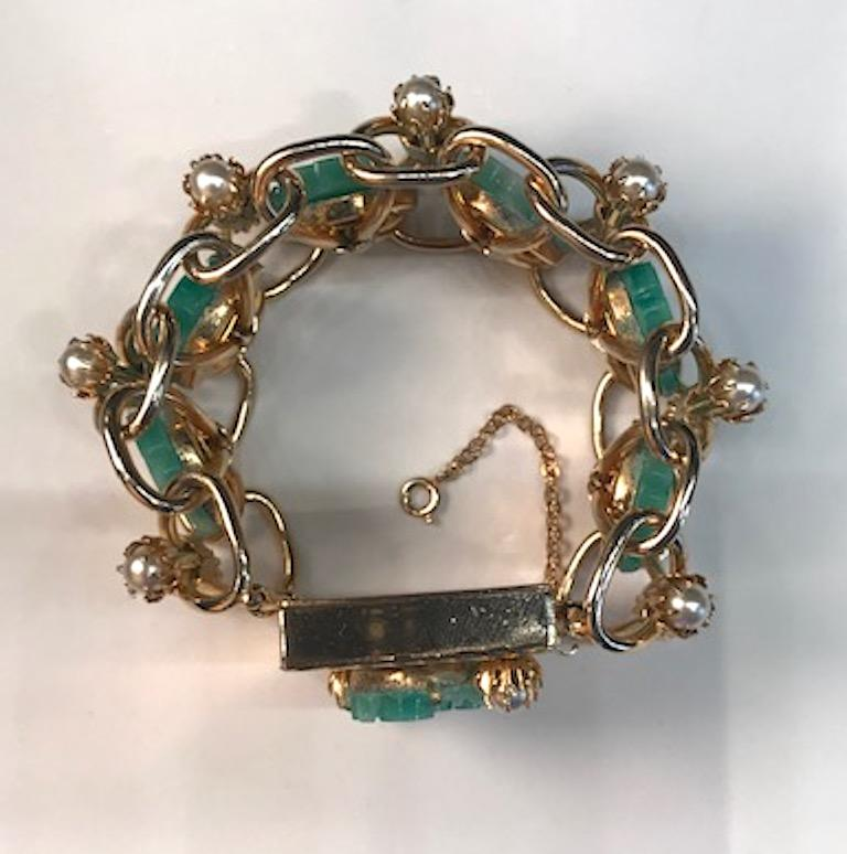 Women's 1950s Carved Glass & Pearl Wide Bracelet For Sale