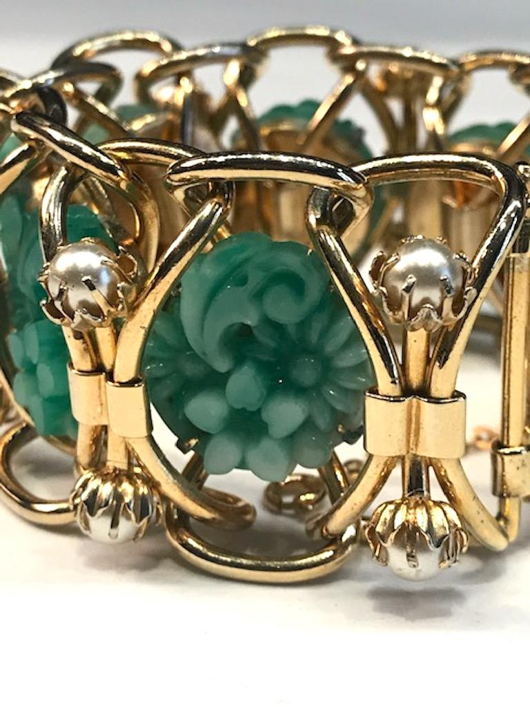 1950s Carved Glass & Pearl Wide Bracelet For Sale 1