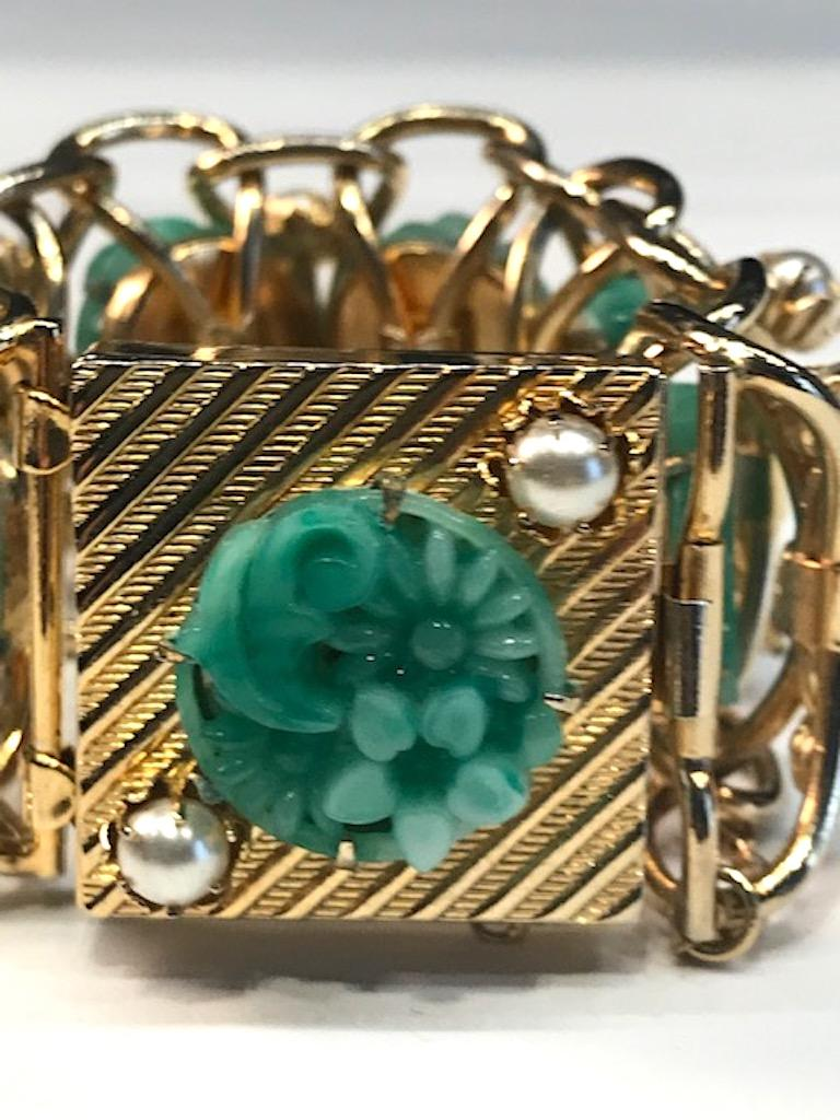 1950s Carved Glass & Pearl Wide Bracelet For Sale 2