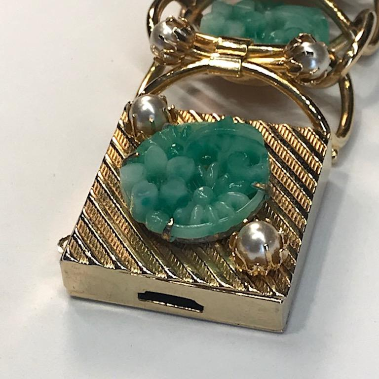 1950s Carved Glass & Pearl Wide Bracelet For Sale 4
