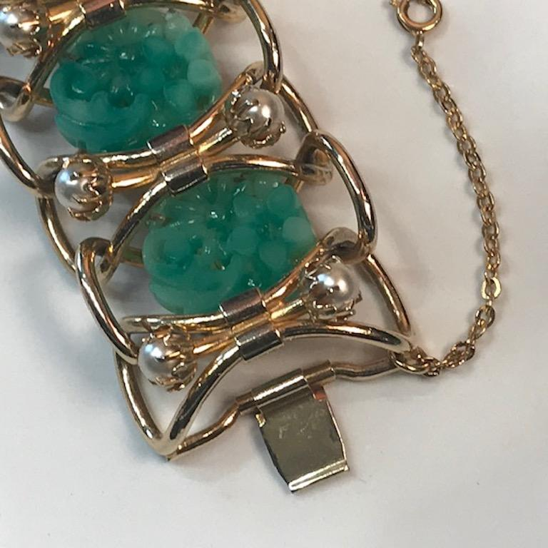 1950s Carved Glass & Pearl Wide Bracelet For Sale 5