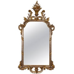 1950s Carved Louis XV Style Silver and Gold Gilt Italian Decorative Mirror