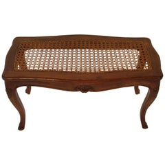 1950s Carved Wood Caned Seated Bench