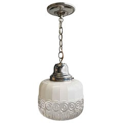 1950s Clear and Frosted Glass Globe Pendant Light with Polished Nickel Hardware
