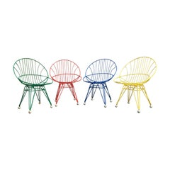 1950s Cees Braakman 4 Combex Wire Chairs for Pastoe, Red, Blue, Green, Yellow