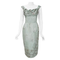 1950's Ceil Chapman Beaded Baby-Blue Silk Ruched Shelf-Bust Cocktail Dress