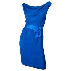 1950s Ceil Chapman Cerulean Blue Silk Chiffon Vintage 50s Off Shoulder Dress