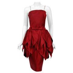 1950's Ceil Chapman Merlot Red Silk Tiered Petal Detachable-Skirt Cocktail Dress