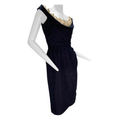 1950s Ceil Chapman Navy Fitted Spring Sheath Dress w/ Lace Décolletage Neckline