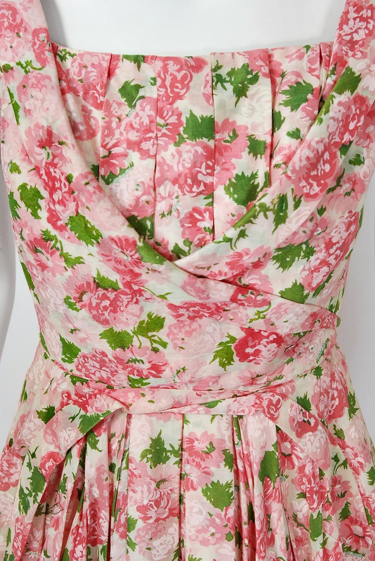 Beige Vintage 1950's Ceil Chapman Pink Carnations Floral Print Cotton Full-Skirt Dress For Sale