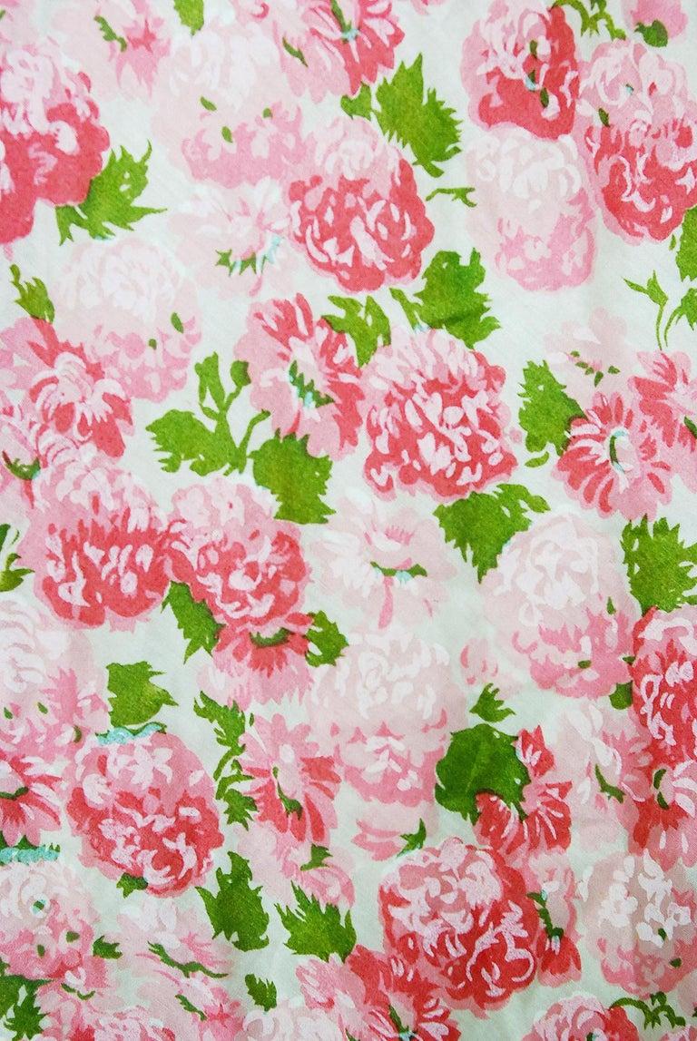 Women's or Men's Vintage 1950's Ceil Chapman Pink Carnations Floral Print Cotton Full-Skirt Dress For Sale