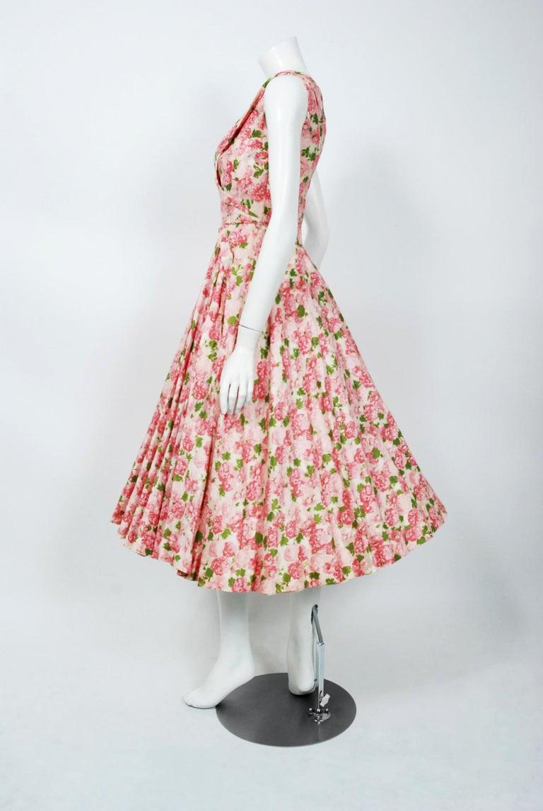 Vintage 1950's Ceil Chapman Pink Carnations Floral Print Cotton Full-Skirt Dress For Sale 1
